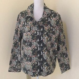 NWT! Lucky Brand 2X grey floral cotton jacket